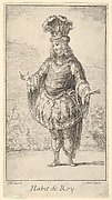 Habit de Roy: a man wearing a tonnelet decorated with rosettes, a crown and a turban with feathers on his head, from 'New designs for costumes' (Nouveaux desseins d'habillements à l'usage des balets operas et comedies)