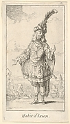 Habit d'Ixion: a man wearing a tonnelet with a sword in the belt, a turban with one large feather on his head, from 'New designs for costumes' (Nouveaux desseins d'habillements à l'usage des balets operas et comedies)
