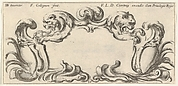 Plate 10: a cartouche with the heads of two lions in profile to left and right in the center, two chimera heads to either side below with their mouths around empty escutcheons, from 'Twelve cartouches' (Recueil de douze cartouches)