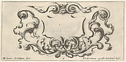 Plate 7: a cartouche with the mask of an ogre at top center, scrollwork to either side, from 'Twelve cartouches' (Recueil de douze cartouches)