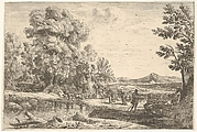 Rebecca and Eliezer taking leave of her father, Bethuel, set in a landscape, a large tree to the left