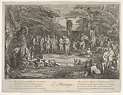 The Marriage (Le Mariage): in a forest, an old satyr marries the betrothed in center, musicians to right, old satyrs with canes to the left, a couple consulting an old philosopher to left in the foreground, from 'The lives of satyrs' (La vie des satyres)