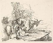 A Nymph with a Small Satyr and Two Goats, from the Capricci
