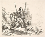Three soldiers and a youth lying on his abdomen in a landscape, the soldiers bear armor and a flag, from the series 'The Capricci'