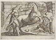 Hercules and the Mares of Diomedes: Hercules grasps the bridle of a rearing horse, a second horse tramples a figure in at right, from the series 'The Labors of Hercules'