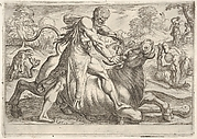 Hercules and  Achelous: at center Hercules grasps the horns of a bull while pressing his right foot onto its leg, at left Hercules wrestles a serpent, at right Hercules wrestles a male figure on the ground, from the series 'The Labors of Hercules'