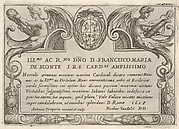 Title plate for the series 'The Labors of Hercules' with the arms of Cardinal Francesco Maria de Monte