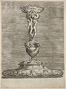 Candlestick with two naked male figures, twisting their bodies to support a mask above, with lion heads bearing garlands and sea creatures below, from a series of four designs for candlesticks