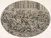 Combat between Amazons and men in front of architectural arcades, an oval composition with weapons, headgear, and bodies strewn along the bottom margin