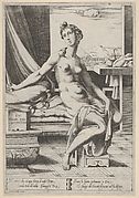 Lucretia naked and seated before a window, bearing a dagger in her right hand and holding drapery which overlays her thighs in her left