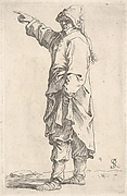 Man standing in profile view and pointing with upraised right hand, a long outer coat falls beneath his knees, with possible drypoint reinforcing the toes of his left foot, from the series 'Figurine'