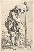 Peasant man leaning forward and grasping a staff with his raised left hand, with his right hand he points downward, a gourd hangs from his right hip, from the series 'Figurine'