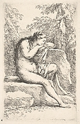 Nude woman seated on a rocky ledge and resting her chin on her crossed arms atop a higher ledge, a cloth covers her left thigh, from the series 'Figurine'