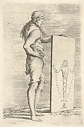 Standing youth, shown in profile view, grasping the top of a tablet with an image of a herm of Diana of Ephesus, from the series 'Figurine'