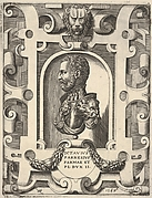 Bust portrait of Ottavio Farnese, shown in profile within a niche, surrounded by an ornamented cartouche