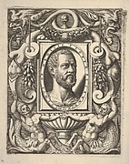 Bust portrait of Cosimo I de' Medici, in an oval frame set within a rectangular plaque, surrounded by fantastical ornament