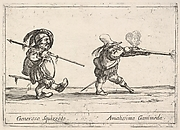 Callot figures; a dwarf man with a spear at left walking towards the right, another dwarf man with a pegleg firing a musket at right, 'Six grotesques' (Six pièces de figures grotesques)