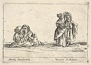 Callot figures; two seated dwarf lovers to left, the woman holding a fan, an old dwarf woman, in profile towards the right, standing with a dwarf man with long hair to right, from 'Six grotesques' (Six pièces de figures grotesques)