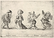 Callot figures; a well-dressed dwarf man to left declaring his love to an old dwarf woman to left, a dwarf man playing the guitar and a dwarf woman dancing with a tambourine to right, from 'Six grotesques' (Six pièces de figures grotesques)