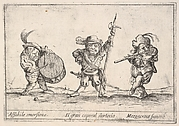 Callot figures; a dwarf man playing the drum at left, a beefeater in center, a flute player to right,'Six grotesques' (Six pièces de figures grotesques)