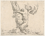 A winged putto flogging a satyr tied to a tree