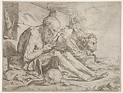 St. Jerome seated on the ground and reading an inscribed scroll, a skull next to his right leg and a lion beyond