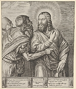 The Tribute Money: two Pharisees, one holding out a coin in his right hand, approach Christ from the left