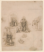 Compositional Sketches for the Virgin Adoring the Christ Child, with and without the Infant St. John the Baptis; Diagram of a Perspectival Projection (recto); Slight Doodles (verso)