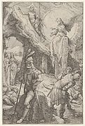 Resurrection of Christ: Christ ascends from the tomb and holds a cross-staff in his left hand, an angel seated on a stone slab gestures toward Christ, armed and unarmed men in postures of sleep and astonishment below, three women standing with lidded jars at left, from the series 'The Passion of Christ'