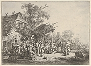 A group of figures dancing under a trellis attached to a house, a standing figure carrying a drum and holding a horn to his mouth, surrounded by onlookers, a lane with houses and carriages beyond