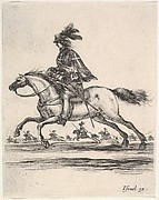 A muskateer galloping towards the left, other horsemen galloping towards the left in background, from 'Various cavalry exercises' (Diverses exercices de cavalerie)