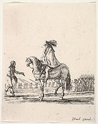 Horseman in center facing left speaking to a man on foot, infantry troops in a line in the background, from 'Various cavalry exercises' (Diverses exercices de cavalerie)