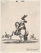 A horseman atop a rearing horse, seen from behind and turned towards the left, two horsemen in the background, from 'Various cavalry exercises' (Diverses exercices de cavalerie)