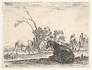Plate 8: a seated horse to right, seen from behind and turned to the left, three other horses in middleground, a tree in center, from 'Various Figures' (Agréable diversité de figures)