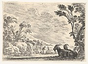 Plate 9: Two goats resting to right, turned towards the left, four men and a horse in a river in the background, from 'Various Figures' (Agréable diversité de figures)
