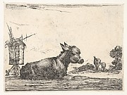 Plate 11: a resting donkey, a horse and a foal to right and a windmill to left in the background, from 'Various Figures' (Agréable diversité de figures)