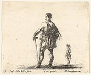 Plate 19: a Polish nobleman in court dress, standing in center, seen from behind, another nobleman to right in background, from 'Diversi capricci'