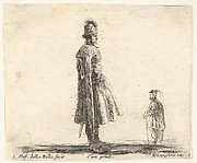 Plate 20: an old Polish nobleman wearing a plumed hat in center, standing in profile facing right, another Polish man to right in background, standing to profile facing left, from 'Diversi capricci'