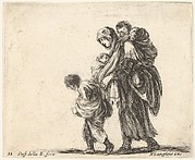 Plate 22: a beggar woman with three children walking towards the left, one child on her shoulders, one child in her arms, and one child who walks in front of her to left, from 'Diversi capricci'
