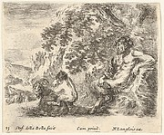 Plate 23: a satyr sits against a tree to right and holds a flute in his right hand, a child plays with a goat to left, from 'Diversi capricci'