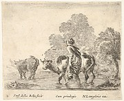 Plate 2: a peasant woman herds two cows across a stream, walking towards the left, from 'Diversi capricci'