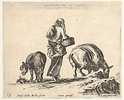 Plate 13: a peasant woman, seen from the back, holding a basket in center, a donkey to left and a horse with a pack on its back to right, from 'Diversi capricci'