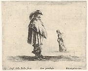 Plate 17: a man wearing a plumed hat in center facing right, a woman walking towards the leftt, from 'Diversi capricci'