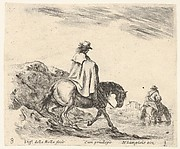 Plate 8: a horseman descends a riverbank, another horseman in river to right, from 'Diversi capricci'