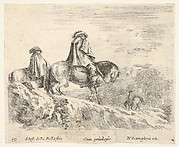 Plate 10: two horsemen walking towards the right, another horseman to right in background, from 'Diversi capricci'