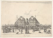 Plate 2: Place Dauphine, on the coast of Pont Neuf, the equestrian statue of Louis XIII in center, seen from the back and numerous figures, from 'Various Figures' (Agréable diversité de figures)