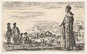 A Polish man in a long robe standing at right in profile, facing left, other Polish men to left, groups of horsemen to left in background and a castle to right in background, from 'Various figures and lands' (Diverse figure e paesi)