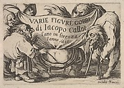 Title page, Varie figure gobbi by Jacques Callot, a squatting figure with bare buttocks surrounded by two figures holding the inscribed drapery and three other figures