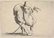 Small figure striding forward with cane and bulging abdomen, body in profile view and head in three-quarters view, from the series 'Varie figure gobbi'
