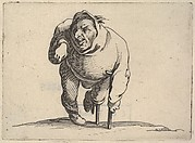 Small male figure with peg leg and crutch, in frontal view, from the series 'Varie figure gobbi'